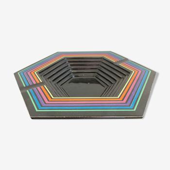Cendrier vintage psychédélique 70's céramique