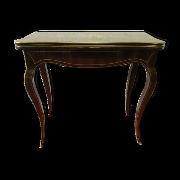 Table a jeux en marqueterie de style Louis XV palissandre et bois clair XXeme