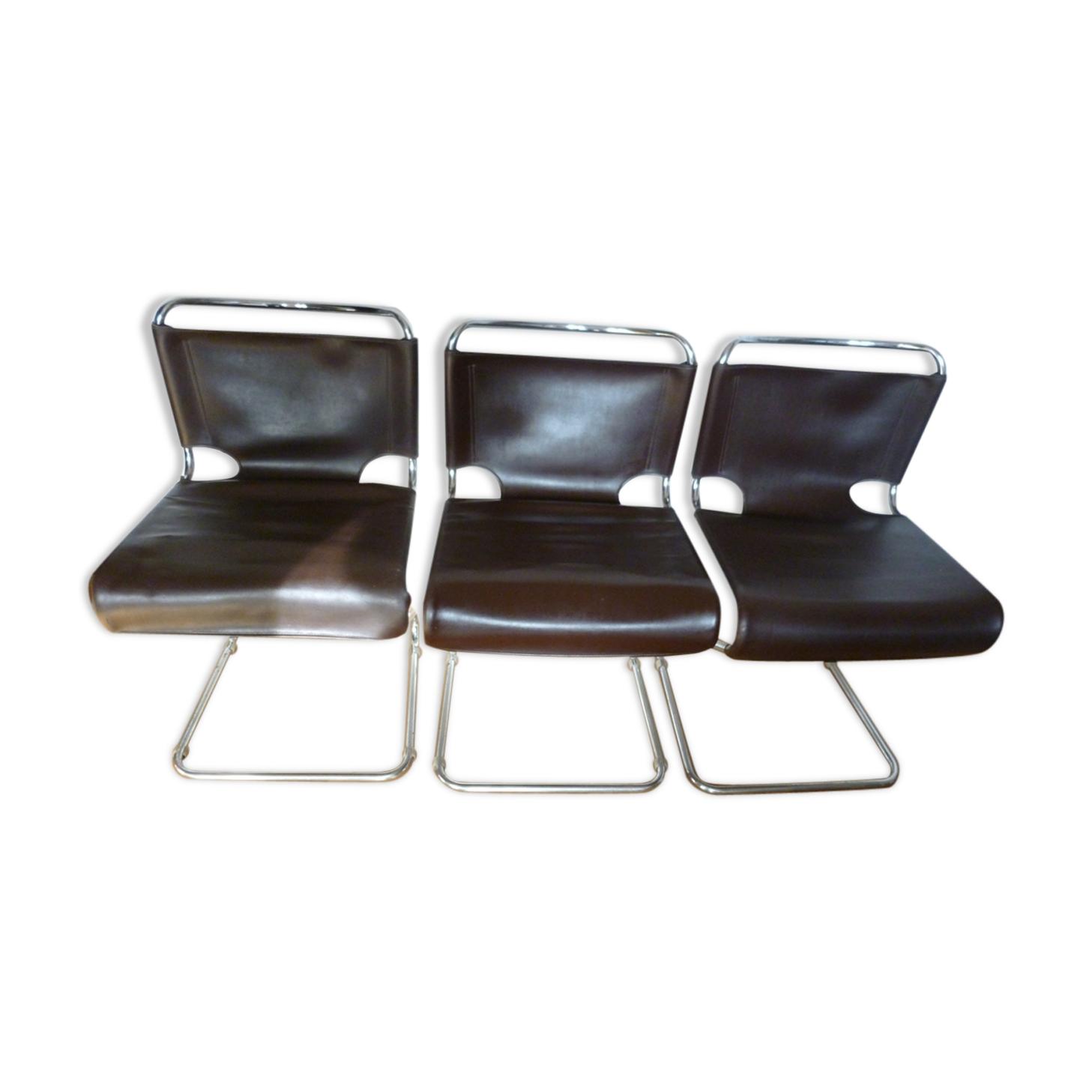 3 chaises en cuir Pascal Mourgue 1960