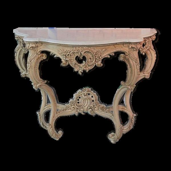 Console Louis XV en bois naturel XIXème