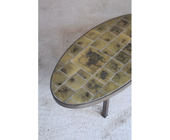 Table basse de Jacques Blin céramique France 1950