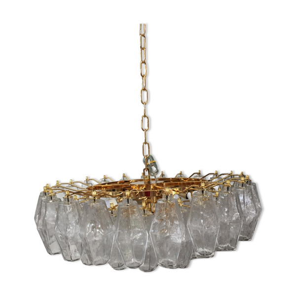Murano Poliedro glass chandelier with transparent gold metal frame