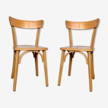 Paire de 2 chaises en bois troquet bistrot