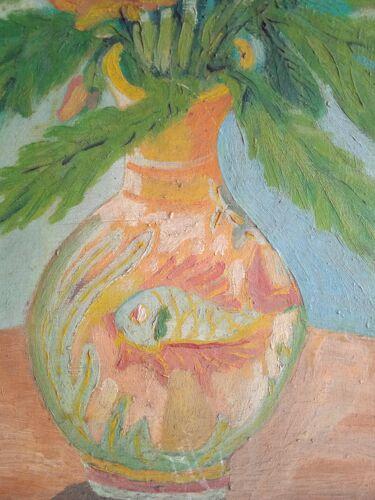 Nature morte huile sur toile Espagne 1961