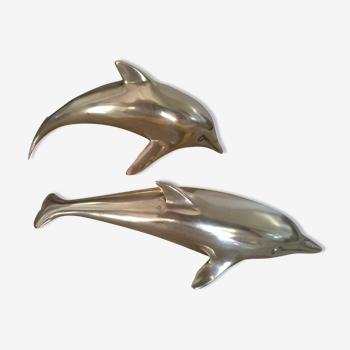 Deux dauphins laiton