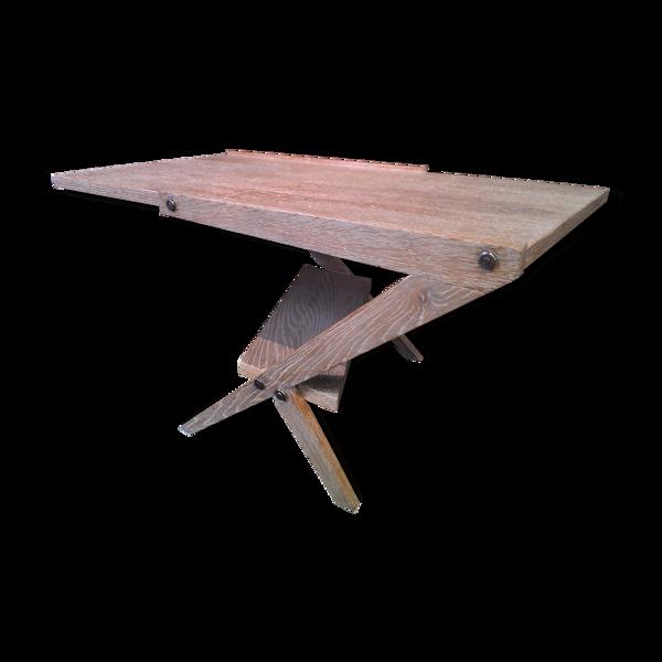 Table vintage au design moderniste année 50/60 en placage de chêne cérusé