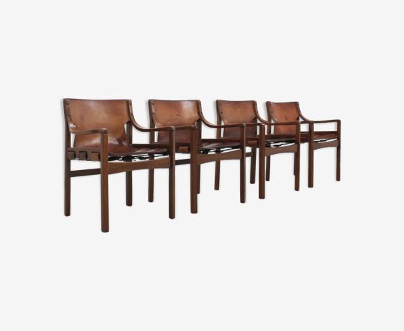 4 chaises en cuir vintage brésilien des années 1960