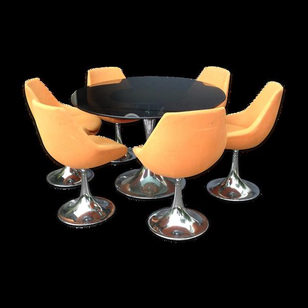 Selency Table pied tulipe + 6 chaises