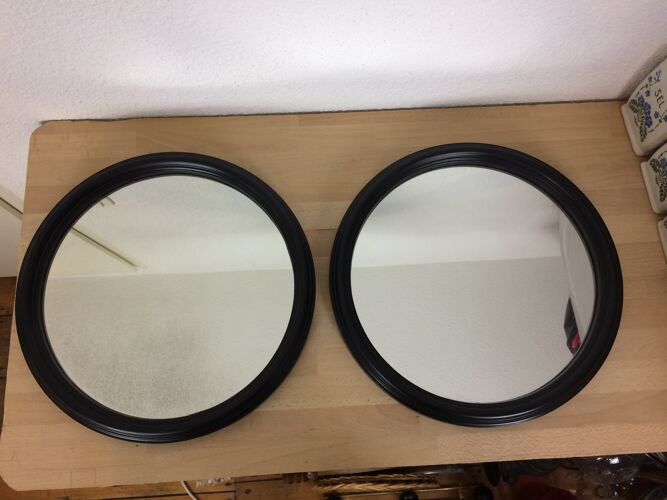 Set de 2 miroirs rond anciens cerclage noir 40 cm