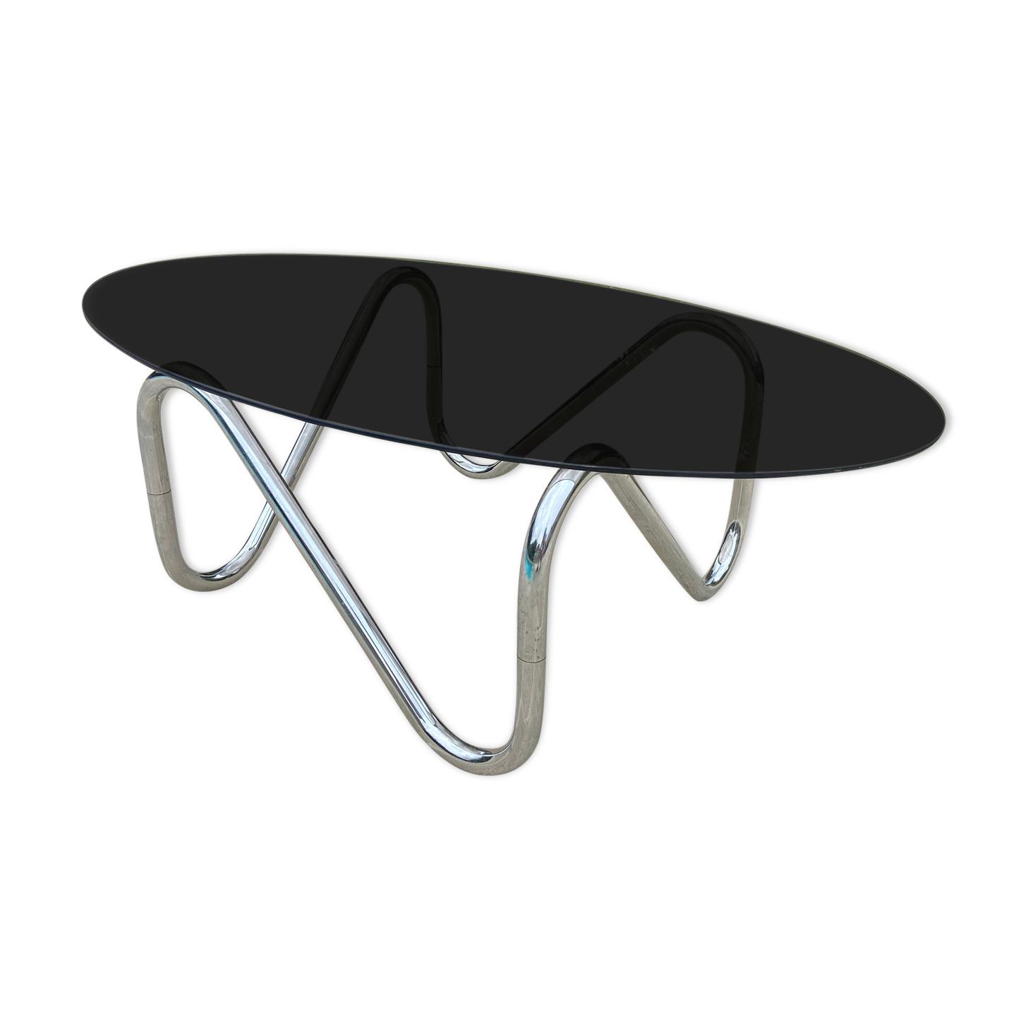 Table basse Roche Bobois chromée et verre fumé 1970