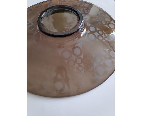 Plat coupelle en verre soufflé années 70 vintage