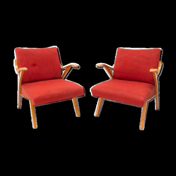 Jaroslav Šmídek, paire de fauteuils tchècoslovaques en bois courbé du milieu du siècle, années 1960
