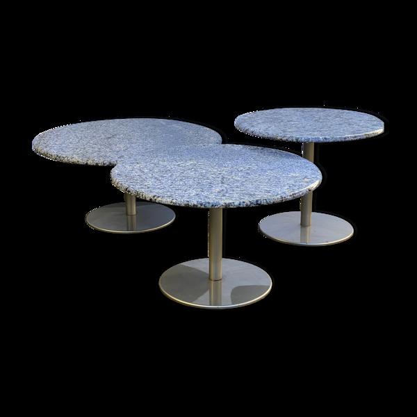Selency Trio de tables basses en granit et acier inoxydable