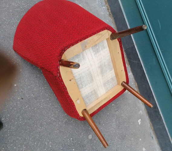 Mottled red fabric cocktail chair, 1950/60