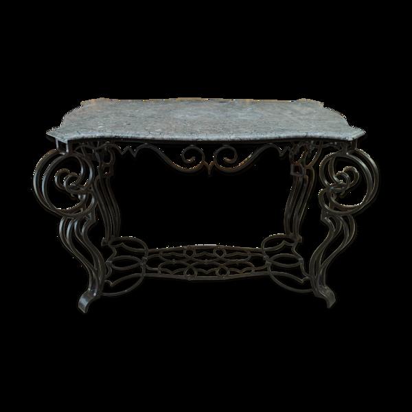 Console style Louis XV en fer forgé et marbre gris
