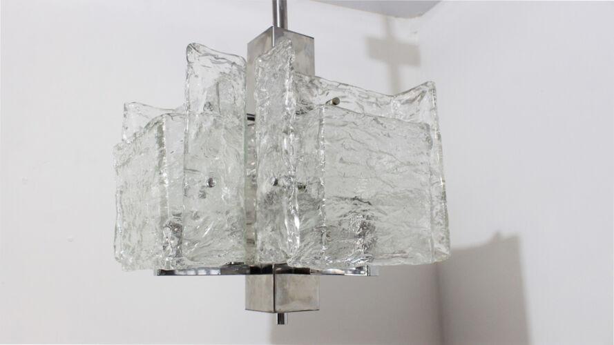 Suspension en verre de Murano Mazzega des années 1970