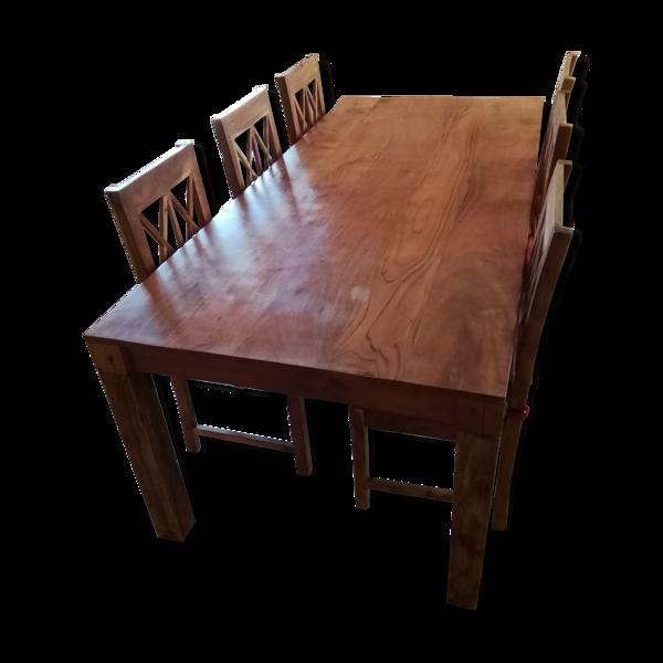 Table à manger 8 personnes avec 6 chaises, en acacia massif