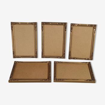 5 cadres anciens bois stuc doré 15,5x10 cm, feuillure 14x9,2 cm