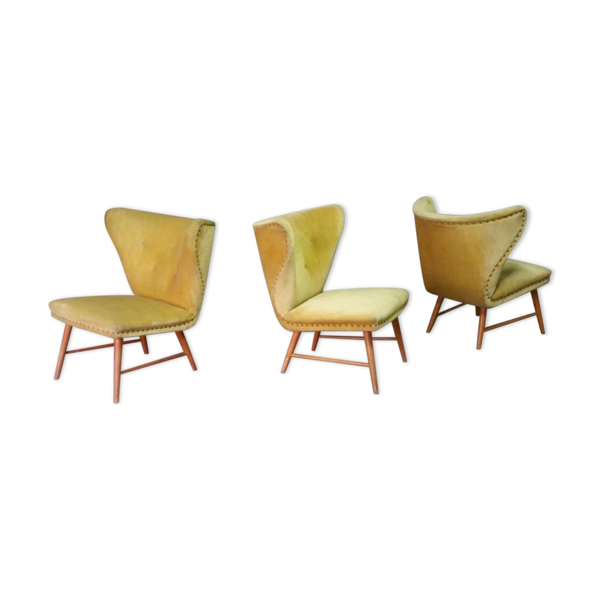 Selency Trio de chauffeuses à oreilles wing chair danoise Elias Svedberg années 50/60 jaune vert