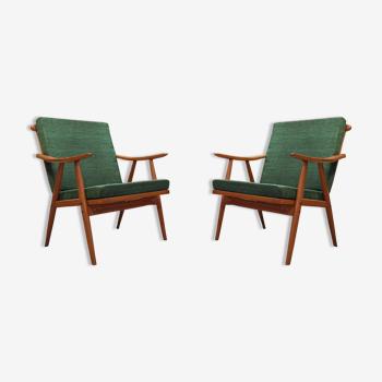 Paire de fauteuils Ton Boomerang vert 1960
