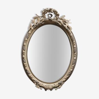Miroir médaillon fronton noeud et roses gris et argile 98x68cm