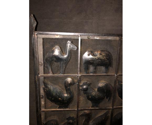 Écran de cheminée éra Marolles fer forgé pare-feu 1970