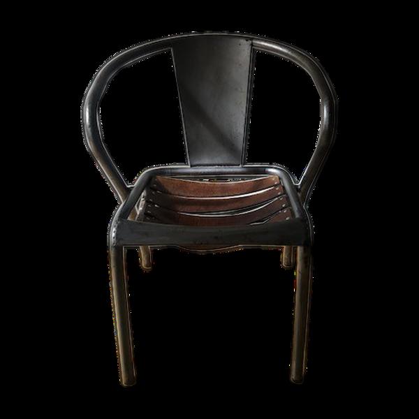 Chaise industrielle en métal et cuir
