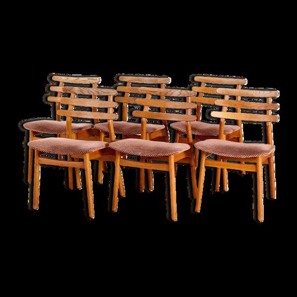 Selency Lot de 6 chaises de salon J48 par Poul M. Volther pour FDB Møbler Danemark 1950s