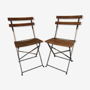 Chaises de bistrot en bois et fer forgé