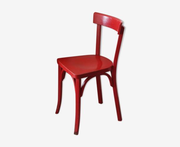 Chaise Baumann laquée rouge 1950