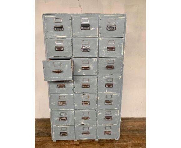 Meuble d'atelier meuble industriel a 21 tiroirs en bois debut xxeme