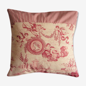 Coussin toile de Jouy rayures rouges