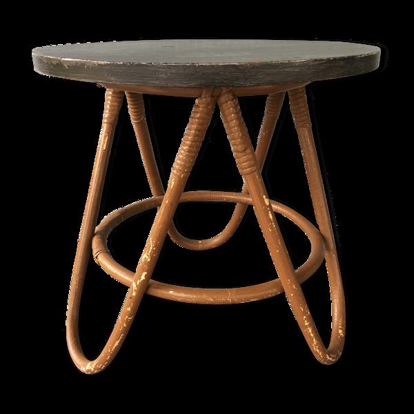 Gueridon table basse rotin bicolore vintage