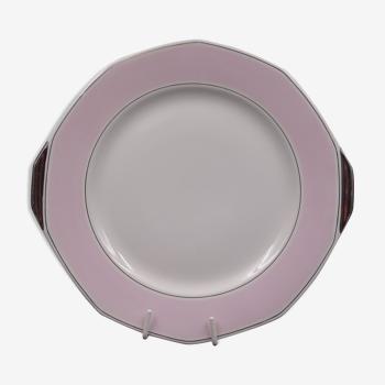 Plat en porcelaine de Limoges - modèle Art déco rose et argenté - vers 1940-1950