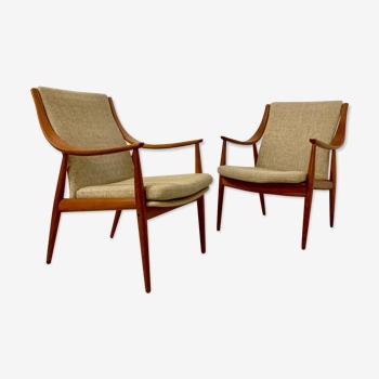 Paire de fauteuils FD144 par Peter Hvidt & Orla Mølgaard-Nielsen  pour France & Son 1950