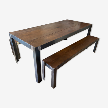 Table industrial style - oak and metal - 200 X 90 cm