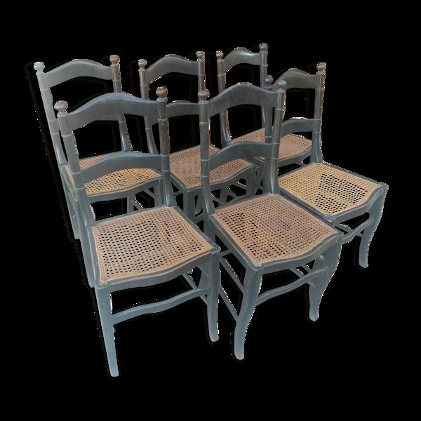 Série de 6 chaises époque Napoléon III en bois noirci et cannage