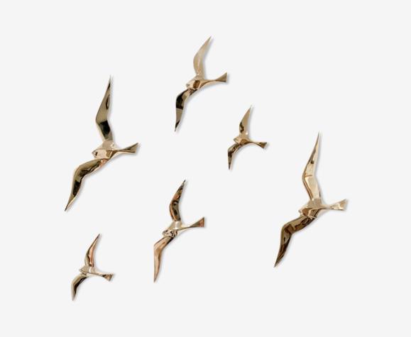 Envolée de 6 hirondelles en laiton doré
