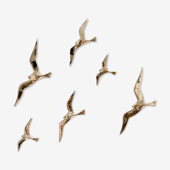 Soaring 6 golden brass swallows