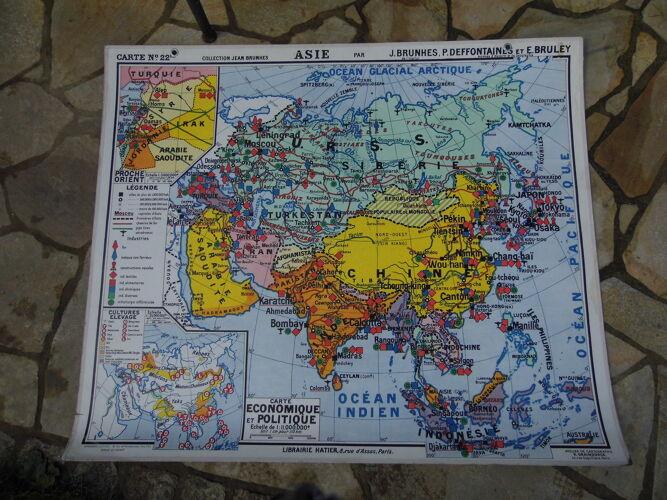 """Carte de géographie d'école  """"L'Asie"""""""
