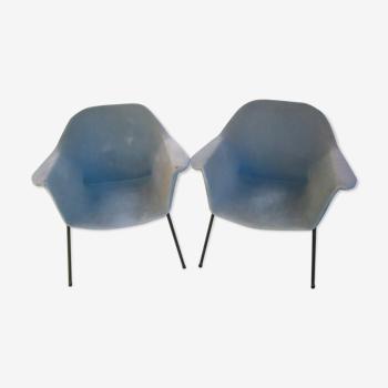 Paire de fauteuils années 50 Claude Vassal pour les magasins Pilotes