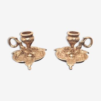 Paire de bougeoirs en bronze doré dans le style art nouveau