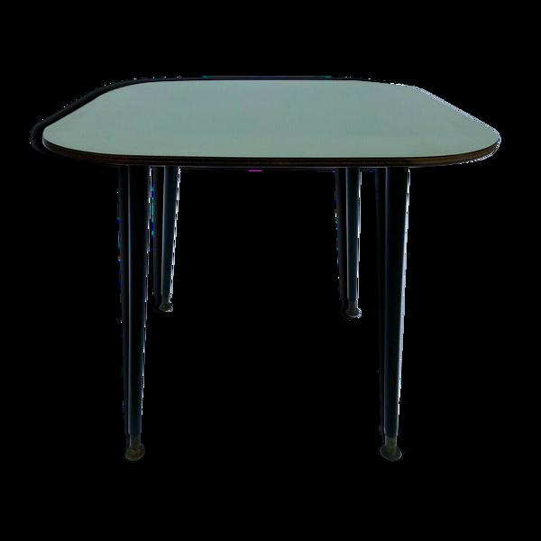 Table basse 1960 formica vert tubulaire noir pietement francais
