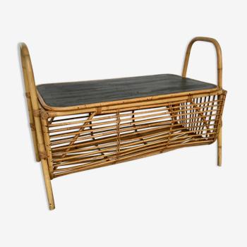 Coffre à jouet en bambou et rotin - vintage 1960
