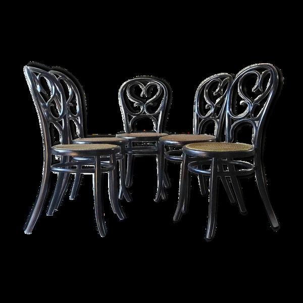 Selency Set de 5 chaises art nouveau Fischel 1875 cannages neufs