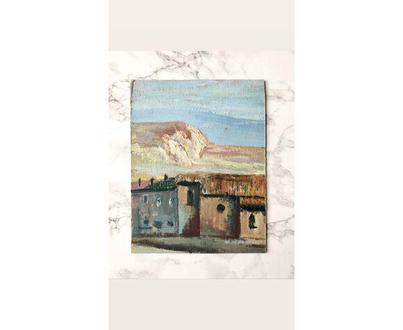 Peinture à l'huile ancienne sur carton française représentant des paysages - Recto-verso