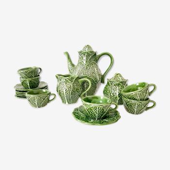 Coffee service cabbages in barbotine / Portuguese manufacture of Caldas da Rainha / Coffee maker barbotine