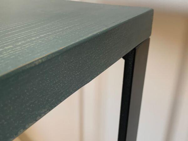 Console plateau bois piètement acier