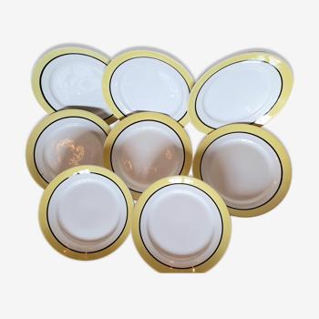 Set de 8 assiettes vintage rayure jaune et noire