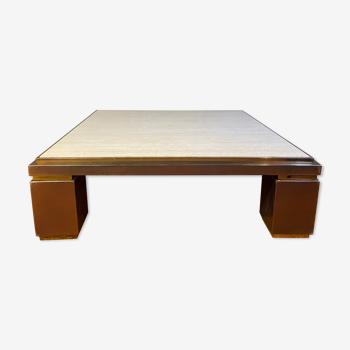 Table basse carrée XXL cuivre laiton et travertin Belgo Chrom